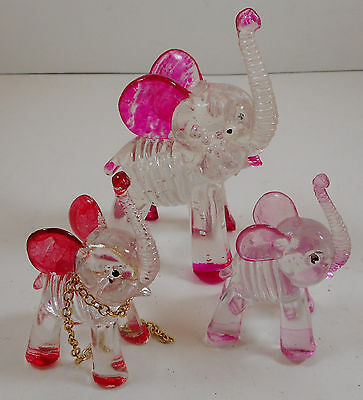 Vintage Pink Red Lucite Acrylic Elephants Figurines Set 3
