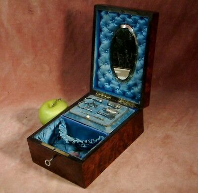 Antique C1860 Burl Wood Boulle Inlaid Sewing Box Set, Silver & Steel Tools