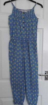 Fat face blue/yellow pineapple pattern cotton jumpsuit size 8-9 Years