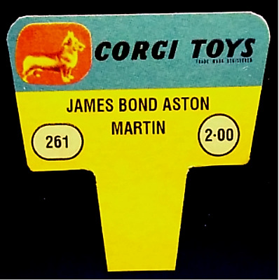 Corgi Toys 1960s Shop Display Point of Sale Sign, 261 Aston Martin.