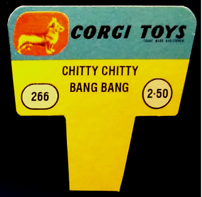 Corgi Toys 1960s Shop Display Point of Sale Sign, 266 Chitty Chitty Bang Bang.