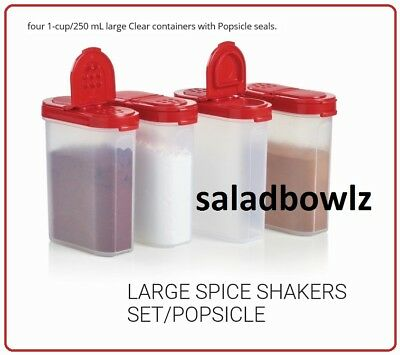 TUPPERWARE New SPICE SHAKER SET, 4 Large Shakers with RED Seals fREEsHIP