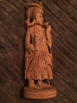 Old Wooden Oriental Figurine Looks Hand Carved