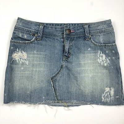 136a8853c7 X2 DENIM JEAN Skirt Size 2 Blue Distressed Cut Off Embroidered ...