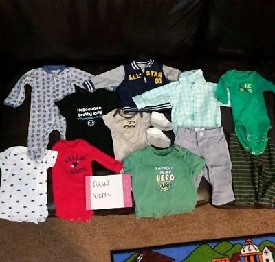 Lot bundle of 34 pieces Baby Boy Newborn and 0-3 months Clothes