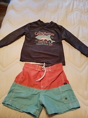 Carter's boy 24 month swim set trunks and long sleeve top good used condition