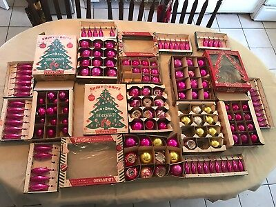 Huge Lot of 144 Vintage Glass Christmas Ornaments SHINY BRITE INDENT & More