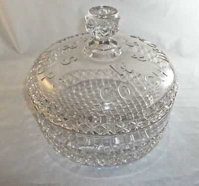 Antique W & S Cough Drops Pressed Glass Country Store Drug Store Display Round C