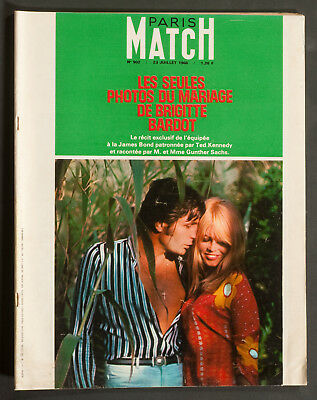 'paris-Match' French Vintage Magazine Brigitte Bardot Wedding Issue 23 July 1966