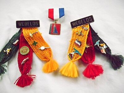 2 BSA Cub Scouts Boy Scouts of America WEBELOS Tri Color Ribbons with Pins
