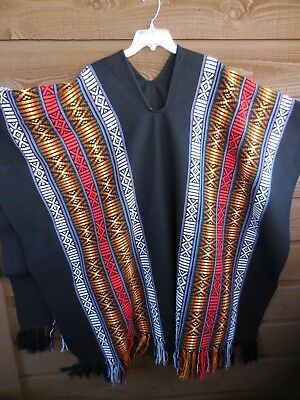 Vintage Ethnic Mexican Poncho Black with multi color Size L/XL Hippy Boho