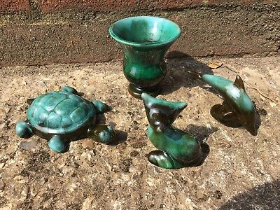 Vintage Blue Mountain Pottery x4 Turtle, Cat, Dolphin, Vase