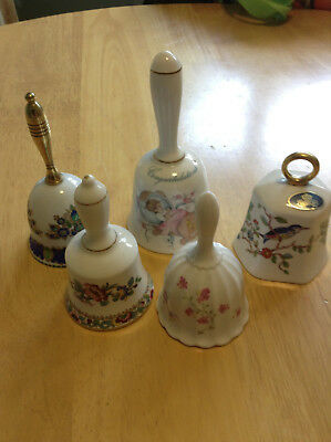 Collection -  Lot Of 5 Bone China/porcelain Bells - Attractive Lot - Great Cond