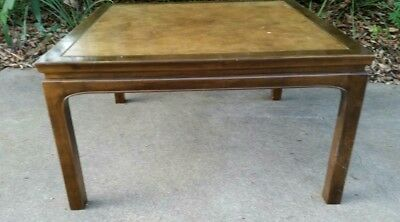 Baker Furniture Gilded Treillage Chinoiserie Coffee Table with Leather Top