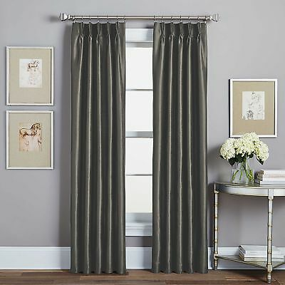 "Spellbound Peri Pinch-Pleat 95"" L,  1 Rod Pocket Lined Panel - Pewter"