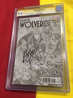 Death of Wolverine #1 CGC 9.8 WP Alex Ross,2x Signed Trimpe,Spiderman Homecoming