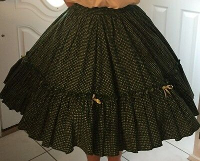 Dark Green With White Designs Square Dance Skirt By Promenade Fashions
