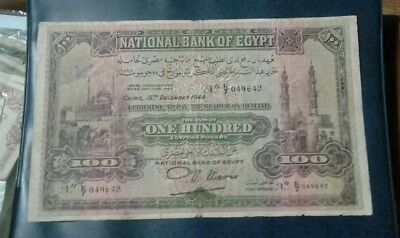Egypt 100 pounds 1944 very rare Banknote, XF.