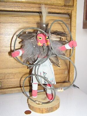 """preowned NM hand-crafted wood 12"""" Hoop Dancer kachina style doll signed J Abeita"""