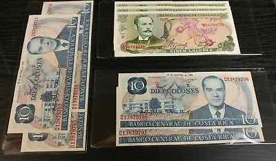 Costa Rica - Paper Money - Multiple Denominations - Consecutive Serial Numbers