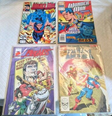 Vintage Lot of 4 Comic Books Captain America Wonder Man Magnus Collectible Cond.
