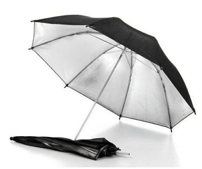 "33"" 83cm Studio Flash Light Reflector Black Silver Umbrella for Camera Brand new"