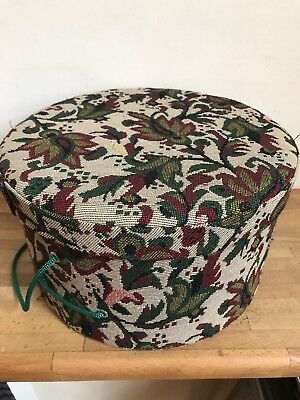 Vintage Round Fabric - Tapestry Hat Box / Small Case / Hat Case