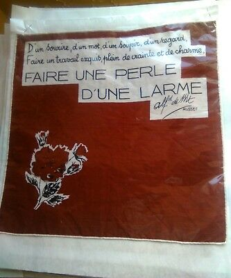 French antique handkerchief red floral poetry Musset
