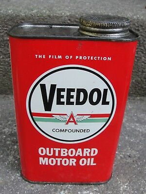 VINTAGE VEEDOL FLYING A COMPOUNDED Outboard MOTOR OIL CAN - 1 Quart - FULL -NICE