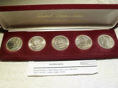 Morgan Dollar 5 Coin Set In Mint State 1881-S,1883-Cc,1885-0,1896-P,1921-D Rare