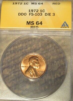 1972 Lincoln Cent Double Die Type 3,  FS-103 MS 64 Red ANACS