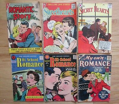 Lot of 6 old 1950's COMIC BOOKS Romantic Story 36 My own Romance 57 Ice Skating