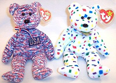 Lot of 2 Ty Beanie Baby Bears, USA & Ty 2K Plush with Tag Protector, 2000, Mint!