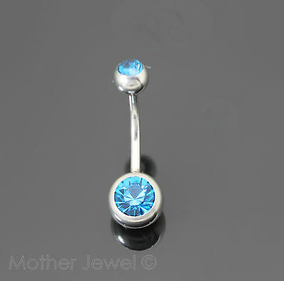 Turquoise Cubic Zirconia Silver Surgical Steel Belly Button Navel Ring 14 Gauge