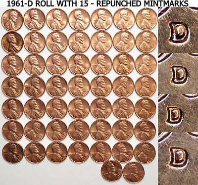 1961-D 1C RD Lincoln Cent Roll 50 Uncirculated With 15 - Repunched Mintmarks