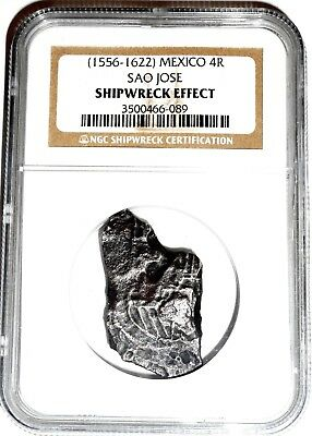1574-1622 Portuguese 4 Reales Sao Jose Shipwreck Coin NGC Certified,Excellent