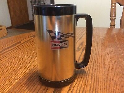 Vintage 70's Champion Spark Plugs Checker Flag Mug