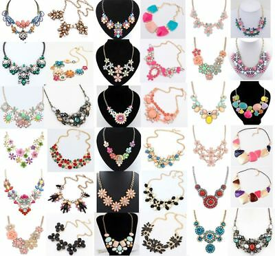 Women Crystal Jewelry Chain Pendant Choker Chunky Bib Statement Necklace Flower