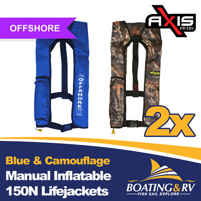 2 x Axis Blue & Camouflage Manual Inflatable Life Jackets | 150N Offshore PFDs