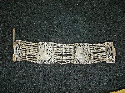 "Vintage Egyptian Revival Silver Filigree  2 Panel Link 6 1/2"" CHAIN Bracelet"
