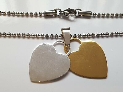 NEW 316L Stainless Steel Double Heart Pendant With Stainless Steel Ball Chain