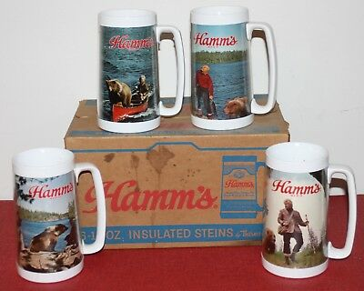 Lot of 4 Vintage Thermo-Serv Insulated Beer Mugs HAMMS Steins Outdoor