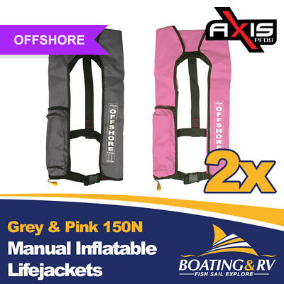 2 x Axis Grey & Pink Manual Inflatable Life Jackets | 150N Offshore PFDs