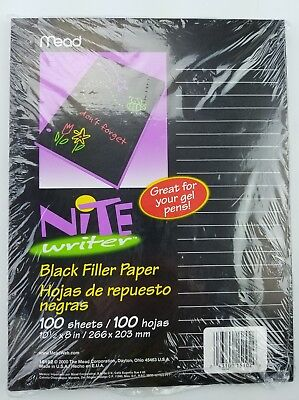 "Mead Nite Writer Black Filler Paper 100 Sheets 10-1/2"" x 8"" Great For Gel Pens ~"
