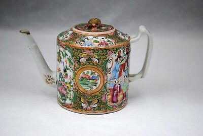 Antique Chinese Export Famille Rose Medallion Teapot
