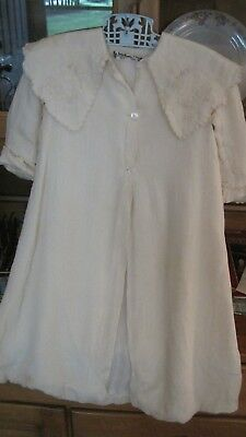 Beautiful Vintage Baby or Toddler Cream Colored Silky Dress Coat John Wanamaker