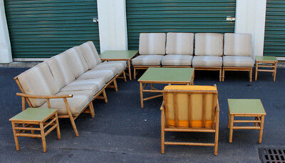 14 Pc Vintage Ficks Reed Rattan Living Room Set Modular Sectional Sofas 5  Tables