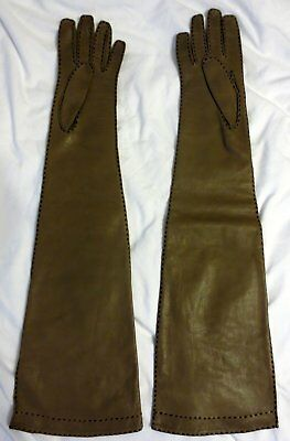 Vintage Saks Dark Tan Long Leather Opera Gloves, Size Small,21 3/4 Inches Long