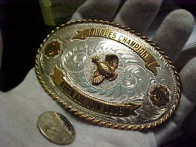 """Trophy Belt Buckle,Shooting Singles Champion """"Sterling Face"""" @NO RESERVE AUCTION"""