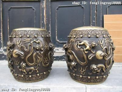 15 Chinese Royal Pure Bronze Copper exquisite Lions Play Ball stool Chair Pair